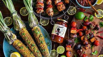 Summer BBQ Feast, Chicken skewers, Vegetarian tempeh skewers, and grilled Corn