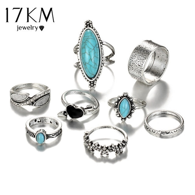 (BEST SELLER) Vintage Boho Turquise Silver Knuckle Ring Set