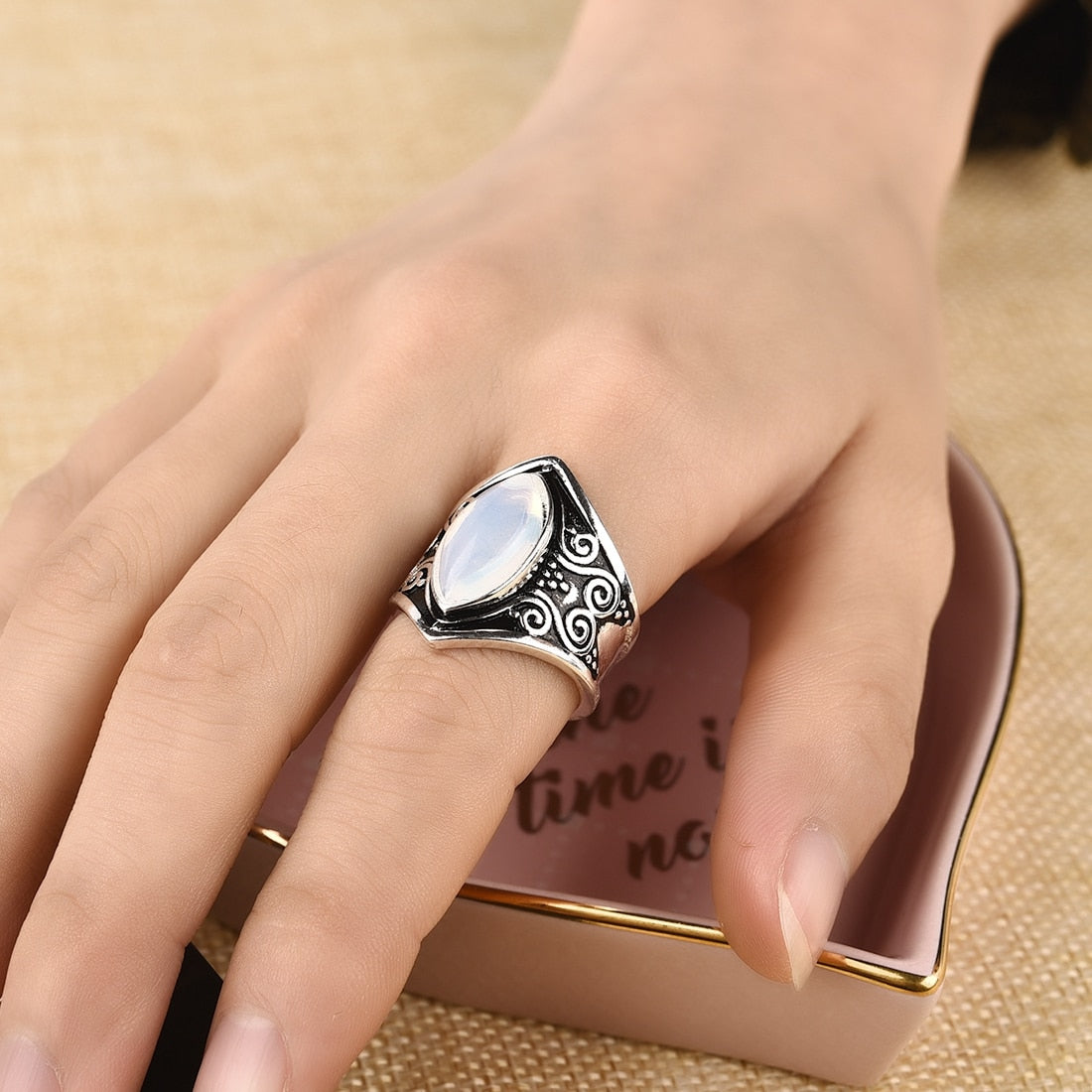 Vintage Silver Big Stone Ring