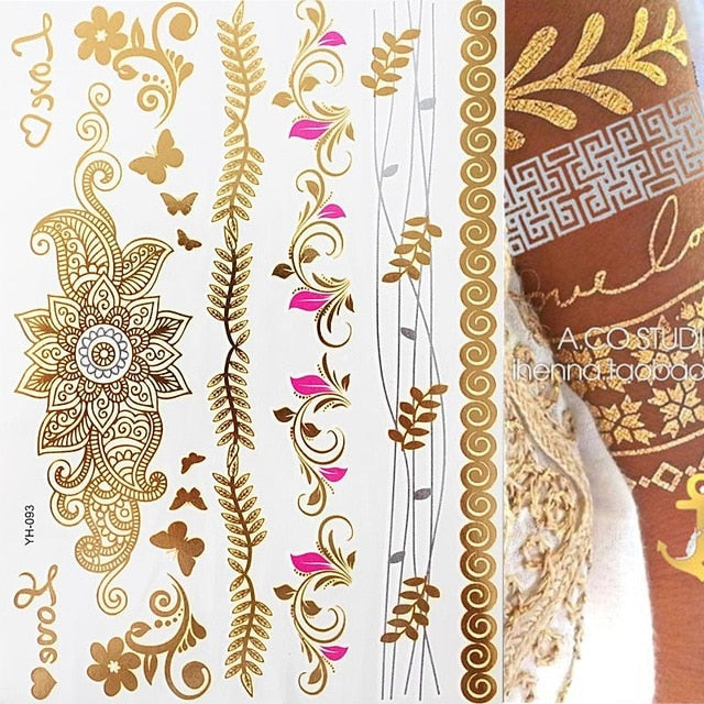 Flash Boho Metallic Gold/Silver Shimmering Jewellery Festival Temporary Tattoo for Body Art