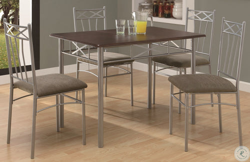 1020 Cappuccino and Silver Metal 5Pcs Dining Set