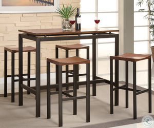 Atlas Black and Gold Metal 5 Piece Counter Height Dinette Set