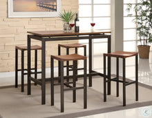 Load image into Gallery viewer, Atlas Black and Gold Metal 5 Piece Counter Height Dinette Set