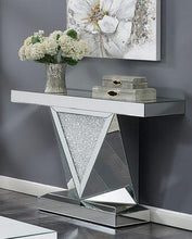 Load image into Gallery viewer, Rectangular Sofa Table with Triangle Detailing Silver and Clear Mirror