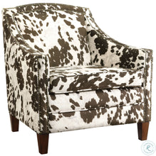 Load image into Gallery viewer, Brown/White Cow Pattern Accent Chair
