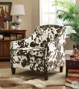 Brown/White Cow Pattern Accent Chair