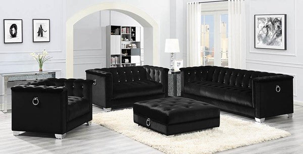 Chaviano 2pc Black Velvet Living Room Set