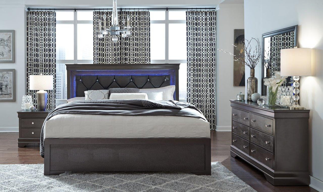 POMPEI QUEEN 5PC METALLIC GREY BEDROOM
