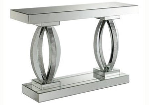 Rectangular Sofa Table with Shelf Clear Mirror