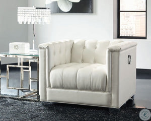 Chaviano 2pc Pearl White Living Room Set