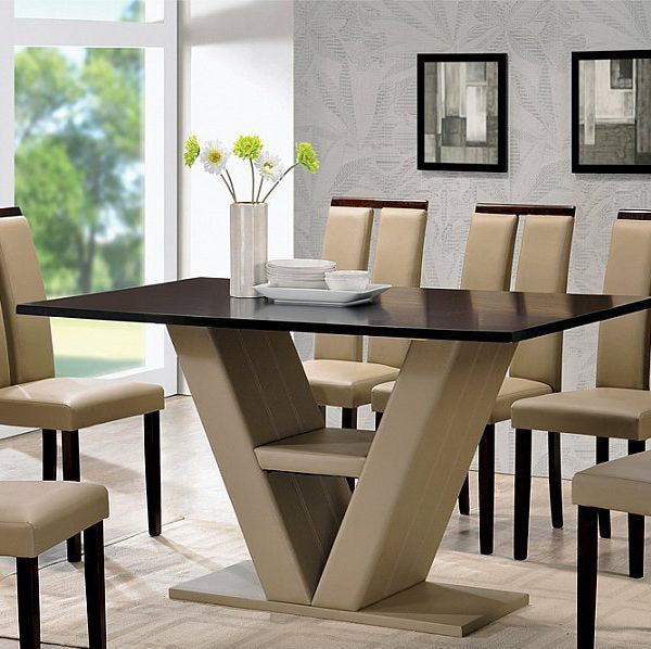 Modern Style with Oversized V-Shaped Table Base 5 Piece Dinette Set