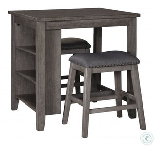 Caitbrook Gray 3 Piece Counter Height Dining Room Set