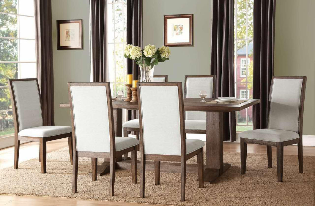 Oak Finish Double Pedestal Dining Table Set