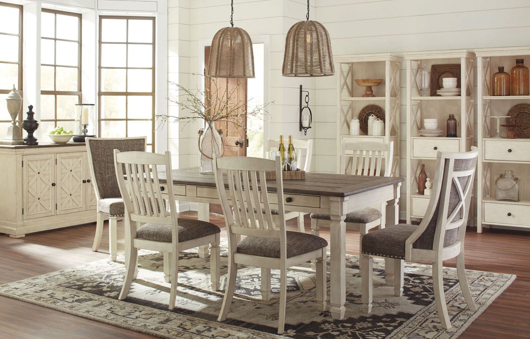 Bolanburg White and Gray Rectangular Dining Room Set