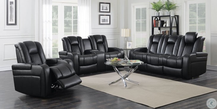 Delangelo 2pc Motion Black Power Motion Living Room Set