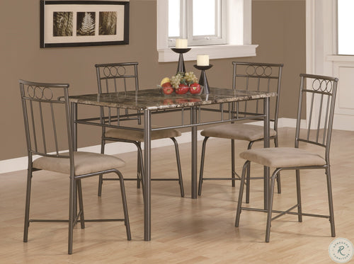 1029 Cappuccino Marble and Bronze Metal 5 Piece Dining Set