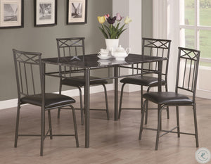 1036 Grey Marble and Charcoal Metal 5 Piece Dining Set