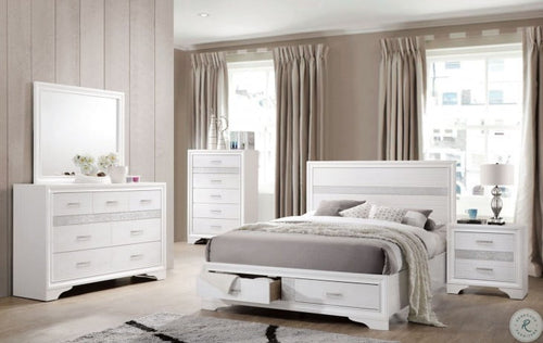 Miranda Queen 5pc  White Storage Platform Bedroom Set