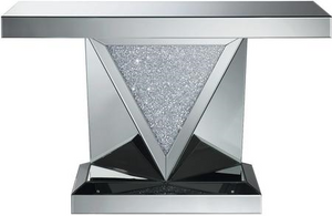 Rectangular Sofa Table with Triangle Detailing Silver and Clear Mirror