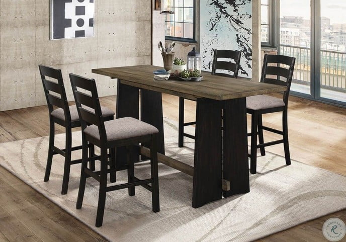Oakley 5pc Khaki And Black Counter Height Dining Room Set
