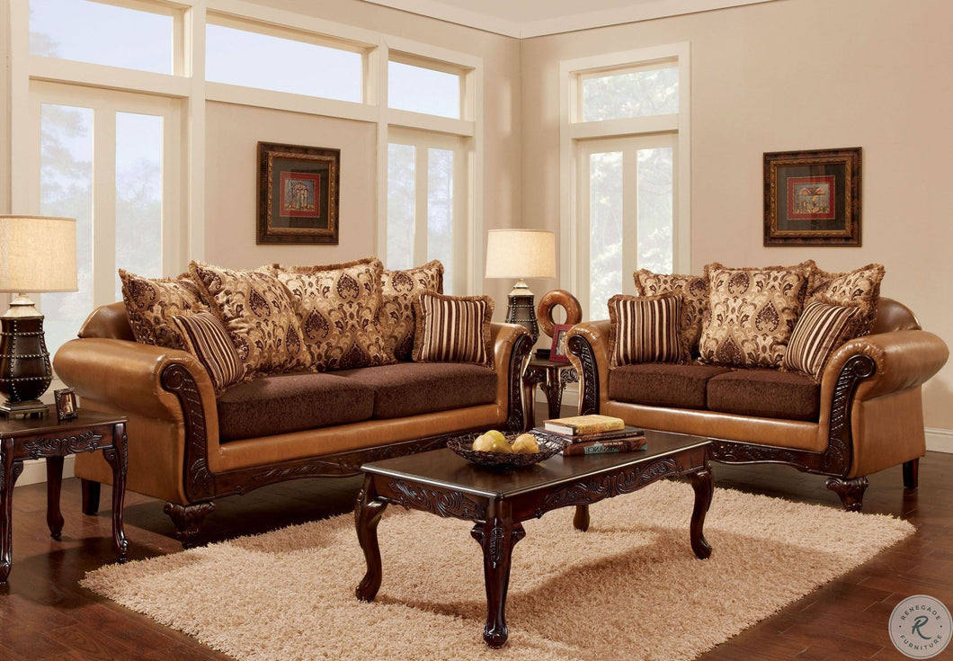 Isabella Camel Brown Living Room Set