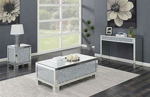 Layton Rectangular Sofa Table Silver and Clear Mirror