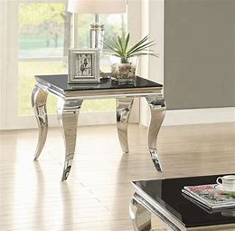 Square End Table Chrome and Black