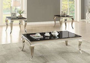 Rectangular Coffee Table Chrome and Black