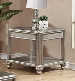 End Table with Shelf Metallic Platinum