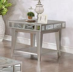 Square Mirrored End Table Mercury