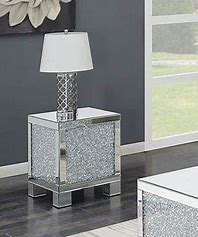 Layton Square End Table Silver and Clear Mirror