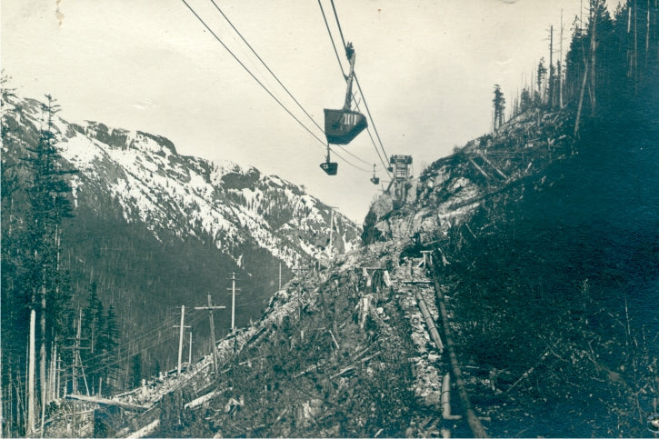 An aerial tramway 5 km long brought ore from the mine--high in the mountains--down to the Mill at Britannia Beach. Tramway was replaced by tunnels in 1927. Circa 1911. BMM 11247.