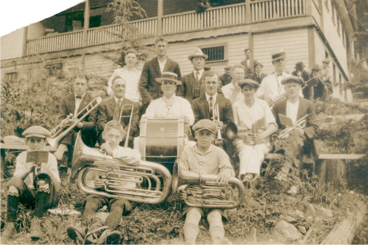 Local bands entertained the community, including a brass band, pipe band, orchestra and the Boy Scouts marching band. Circa 1925. BMM 11309.