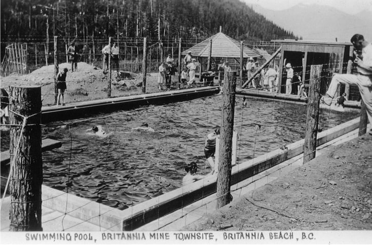 The two outdoor swimming pools were extremely popular, especially this one at the Mount Sheer Townsite that was heated! Year 1951. BMM #11694.