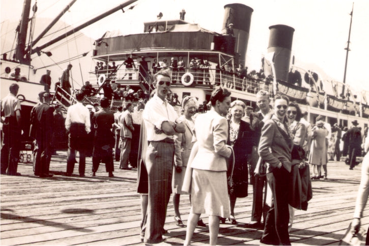 Before the highway, travel to Vancouver took hours by steamship, but at least it gave folks a chance to catch up with each other. Circa 1950. BMM #12013.