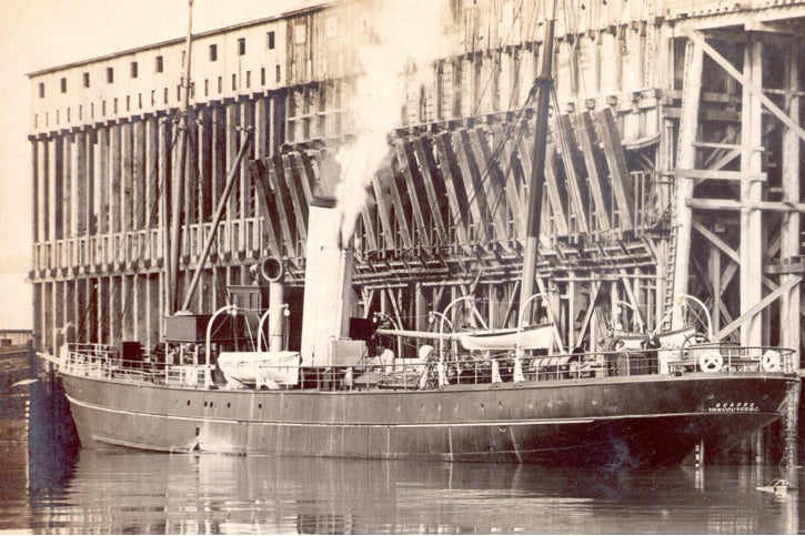 The SS Quadra routinely carried processed ore from the freight wharf to smelters elsewhere.