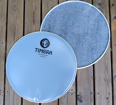 Inverted napa surdo head. Top and bottom view. You can see the napa layer on the bottom view. Top view has the Timbra Logo
