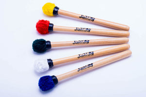 Third surdo mallets, terceira mallets in multiple colors. Wooden handles and fuzzy head mallets.