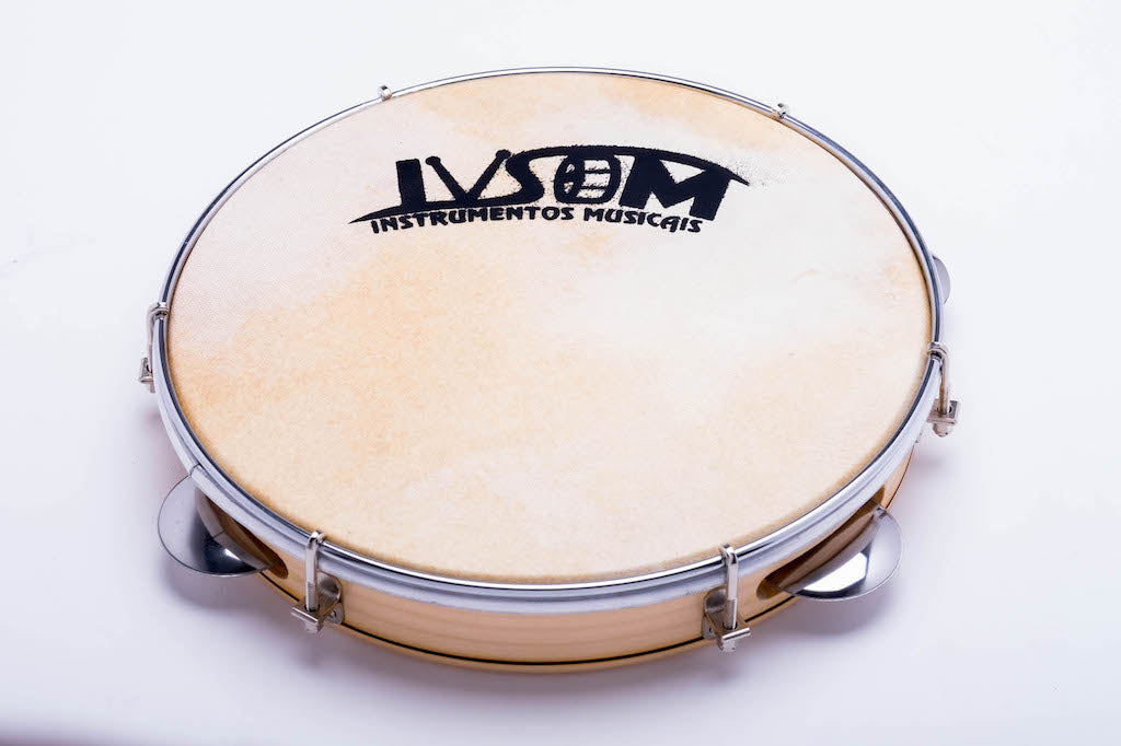10 inch pandeiro from Rio de Janeiro made by IVSOM. Hand held drum for pagode, chorro, samba, forro. .