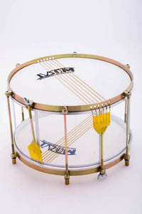 Caixa vazada made by IVSOM. A drum without a shell and two sets of caixa wires, one on each head.