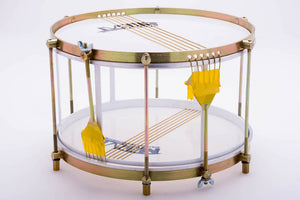 Side view of Brazilian snare drum without a shell. No shell drum used for samba.