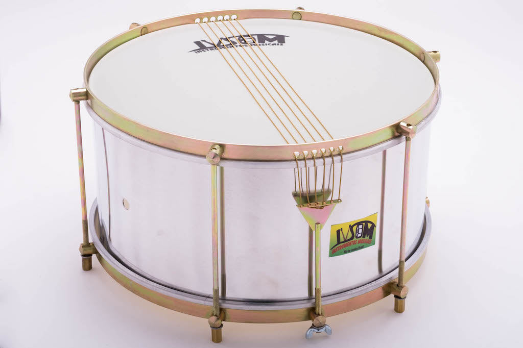 "14"" six string caixa drum with 6 strings and an aluminum shell. Shiny samba drum on a white background"