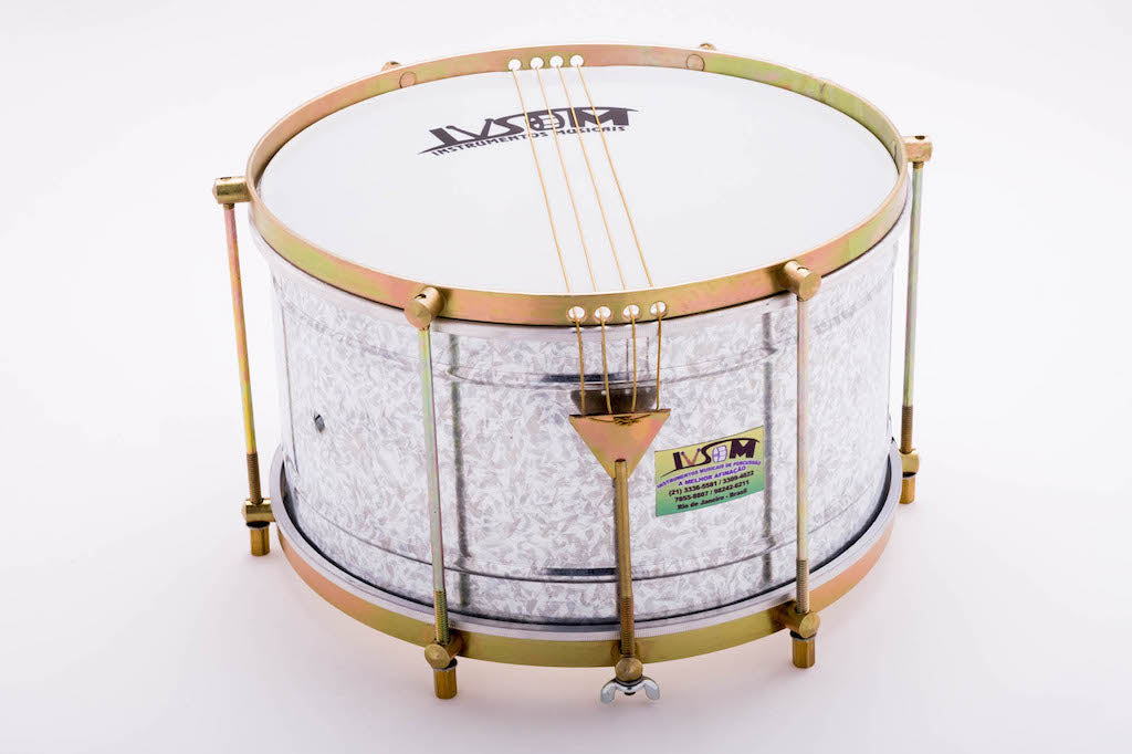 Steel shell caixa with 4 strings. IVSOM malacacheta drum for samba batucada.