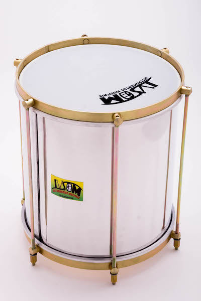 "10"" repique, aluminum shell, brassy hardware, white plastic head. Bacurinha"