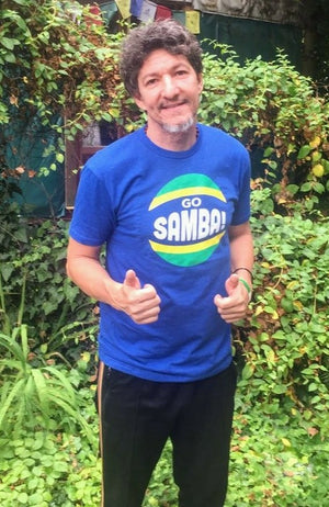 Dudu Fuentes wears his Go Samba T-shirt.
