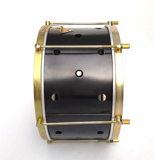 Snare drum with brass colored hardware, six strings, clear drum heads and a black shell. The primary black has small holes drilled into it.