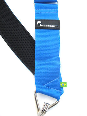 Electric blue samba drum strap.