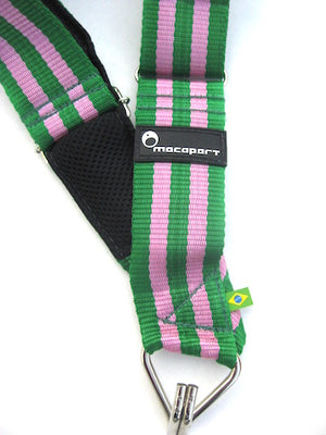 Manugeira samba school colors pink and green of the Macapart strap. Tiny rubber Brazilian Flag near the single hook.