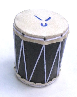 Marcos China logo on goat skin head for tiny drum shaker. Looks like a tiny surdo.