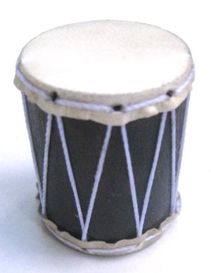 Small drum shaker made by hand by Marcos China. White strings and goat skin head with dark wood body.